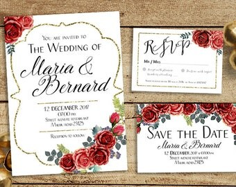 Red Rose Invitation, Bohemian Wedding Invitation Set, Rustic Wedding,  Floral Enclosure Card,