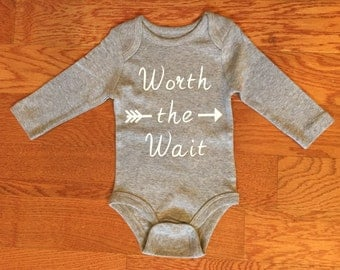 Worth the Wait Bodysuit. Coming Home Outfit. Baby Shower Gift. Bring Home Baby.