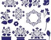 SALE Dutch Treat Clipart, digital graphics, scrapbook embelishments, elegant, vector graphics, delft style, floral, digital art, clip art