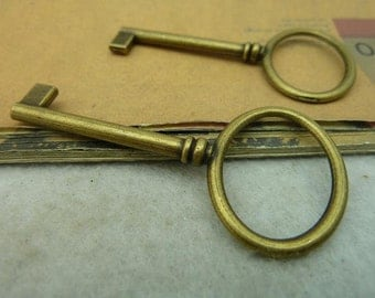 10 Large Key Charms Antique Bronze Tone - WS3971