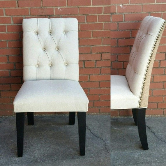 Parsons Chair Upholstered Tufted Oatmeal Linen And Burlap