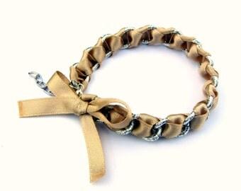 Beige ribbon bracelet, handmade jewelry, woven bracelet, bow bracelet, wedding bracelet, for bridesmaid gift, bridal jewelry, BoLoopi