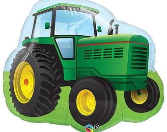 "Green Tractor Balloon, Tractor Balloon, Farm Theme, Birthday Party, Country Theme, Boy Birthday, Party Decor, Farm, Party Decoration, 34"""