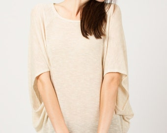 T2318 3/4 Sleeve Low gage Sweater Cape Oatmeal