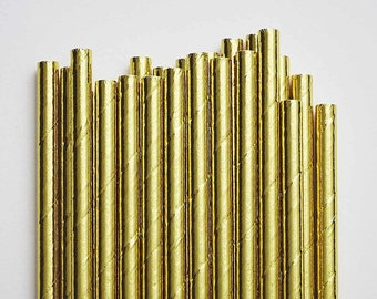 25ct. Gold Metallic Foil Paper Party Straws. Cake Pop Straws. Drinking Straws. Party Supplies. Dessert Table. Baking Supplies