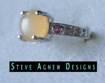 Peach Moonstone and Ruby Ring