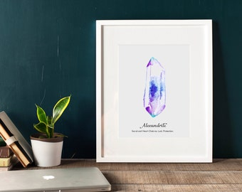 Alexandrite wall art, printable, chakra prints, gemstone wall art, gem print, jewel print, wall decor, birthstone print