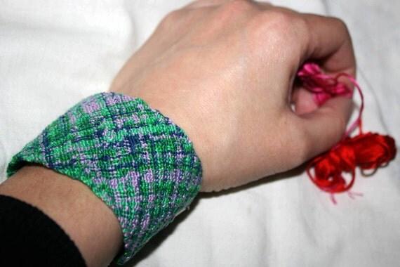 Multicolour, 100% cotton, hand-knitted, ethnic, boho, statement bracelet
