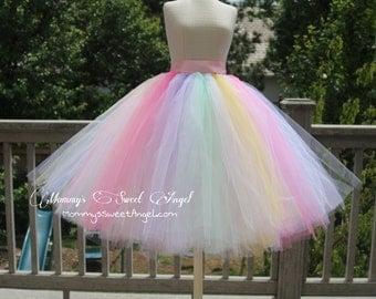 Pastel rainbow adult tutu skirt. Bachelorette tutu.