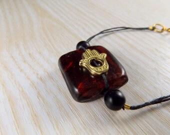 Hamsa and Red Glass Bracelet