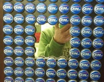 Beer lovers mirror. 72 Bud Light bottle caps