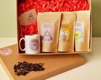 Café coffret, boîte-cadeau de café, café cadeaux panier, cadeaux de comédie ville torréfacteurs, spécialiste métier cafés torréfiés à Londres