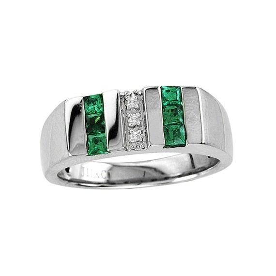 silver emerald ring with genuine diamonds in sterling silver