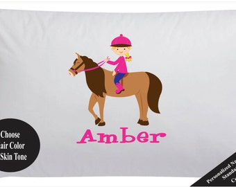 Girls Personalized Horse Pillow Case Pillowcase Girls Horse Pillowcase