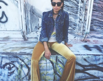 Gold velvet Bell Bottoms Leggings Pants Festival Coachella Fashion bells gypsy beach boho