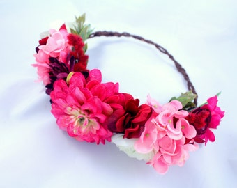Burgundy and Pink Floral Crown