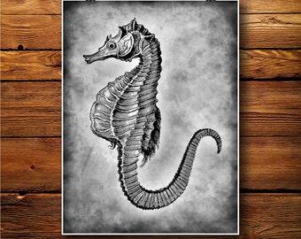 Seahorse Print, Marine Poster, Sealife Decor, Ocean Art BW303