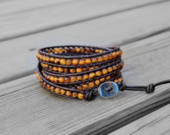 Leather Bracelet Tiger Eyes Beads Wrap Bracelet Tiger Eyes Bracelet Leather Wrap Bracelet 4mm Beaded Bracelet with Brown Leather Cord