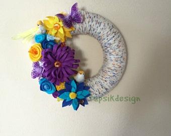 Colorful Felt Flower Wreath, Yarn Wreath, All Season Wreath, Mothers Day Wreath, Mothers Day Gift, Home Decor, Spring Wreath, Summer Wreath