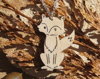 Pierced Wooden Fox Cut Out Necklace on Silver Plated Nickel and Lead Free Chain