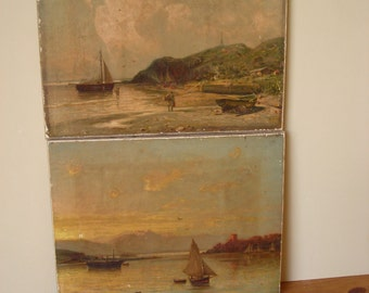 Old French Oleographs, Pair of Vintage 'Poor Man's Oil Paintings'.