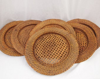 Six 6 Vintage Collectible Sturdy Wicker Charger Plates 13.5""