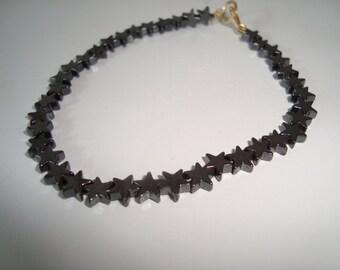 Bracelets hæmatit star pearls black 20 cm long with filled gold lock and eye