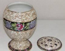 Antique Pedestal Flower Frog English Porcelain Vase & Lid Floral Pedestal Vase Vintage 2pc Flower Frog RARE Vintage Vases Free Shipping