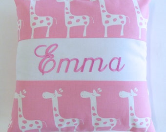 Personalized Pillow, name pillow, embroidery, giraffe, baby, nursery, baby shower, modern design, premier prints