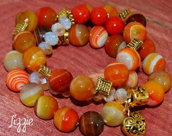 Orange Bold Agate Bracelet Set