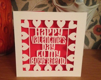 papercut happy valentines day to my boyfriend card gay valentines card lesbian valentines - Gay Valentines Cards