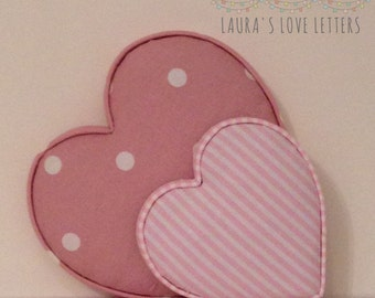 Fabric shapes, hearts,  padded,  baby room, nursery, baby gift, baby shower, padded letters, wall art,