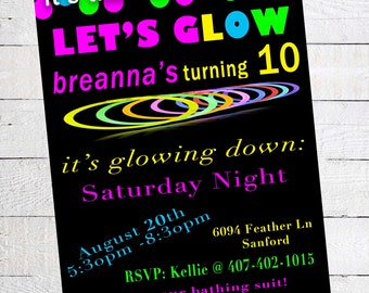 Glow in the Dark Birthday Party Invitation - Printable