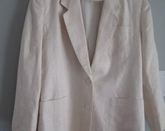Vintage Jennifer Moore White 100% Linen Lined Jacket Blazer Retro Mod Size 8