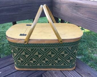 Vintage Burlington Hawkeye Picnic Basket with Original Dishware, 1970s