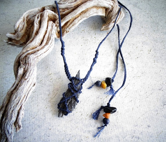 High Vibration Large Black Kyanite w/ Black Tourmaline&Agate Long Unisex Macrame Necklace,Bohemian,Hippie,Tribal,Festival,ブラックカイアナイト,ボヘミアン