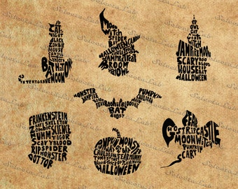 Digital SVG PNG halloween monster, witch, castle, cat, bat, frankestein, pumpkin, typhographic faces, silhouette, vector, clipart,download
