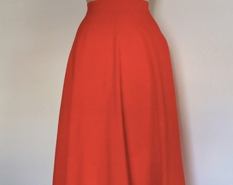 Vintage 70s summer skirt red high waisted swing circle skirt size XS