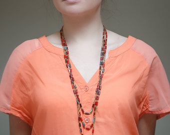 Vintage glass necklace / Multi strand beaded necklace / Long glass necklace / Red glass necklace / Multi strand glass necklace