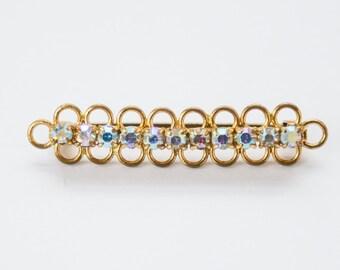 Vintage crystal gold toned brooch, vintage brooch, crystal pin