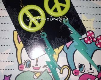 """Handmade 80's Retro Style Neon Peace Sign & Lightning 3.5"""" Long Dangle Pierced Earrings OOAK"""