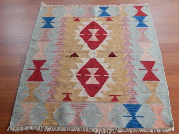 Pastel Tapestry Kilim Rug Vintage Pale Kelim Teppich Tapis