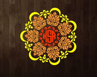 Mandala illustration, mandala monogram SVG, mandala designs, mandala vector, mandala flower, printable mandalas, indian mandala. Id#MM6