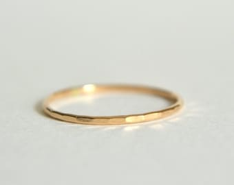 14k Gold Hammered Ring, 14k Gold Hammered Band, Solid Gold Band, Stackable Ring, Stacking Ring, Hammered Stacking Ring, Dainty Ring