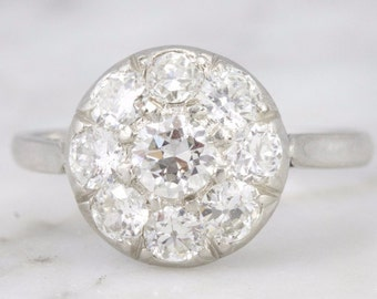 SOLD Clementine Edwardian Cluster Diamond Engagement Ring