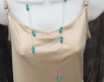 Long Turquoise Necklace and earrings