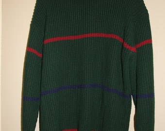 Vintage Green Striped Fisherman Sweater