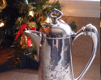 Antique quadruple silverplate Toothill coffee pot, 19th century coffee pot, vintage silver pitcher