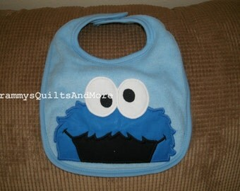 Baby bib inspired by Cookie Monster