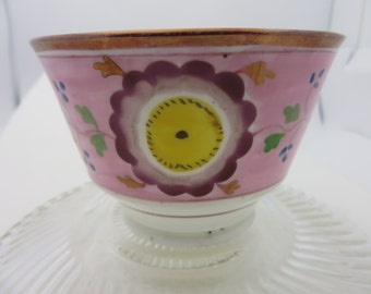 "Circa 1790 Lusterware Luster Ware Handleless Tea Cup Coffee Cup wide Rose Gold Band  (no saucer)  3-1/2""X2-1/2"" hand painted"